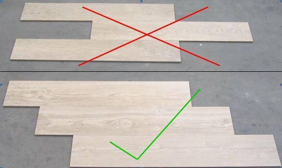 When installing wood grain tiles, stagger them like wood planks would be staggered