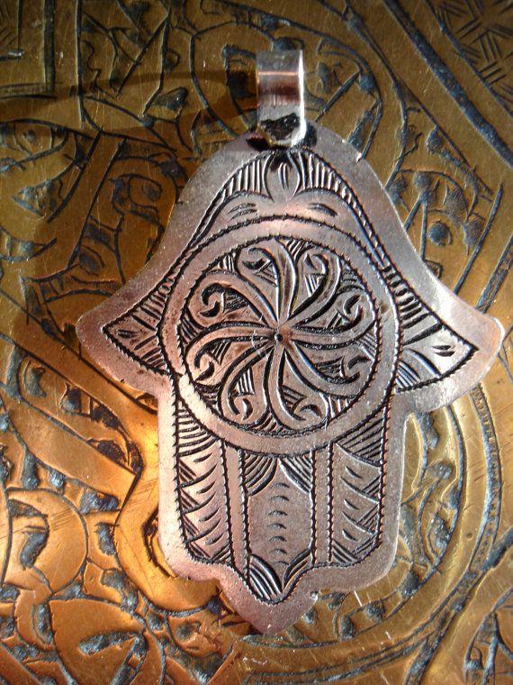Moroccan hand of Fatima hamsa khamsa charm necklace pendant (H)