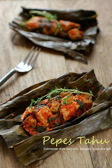 Pepes Tahu, Steam-Grilled Spicy Tofu Wraped In Banana Leaves