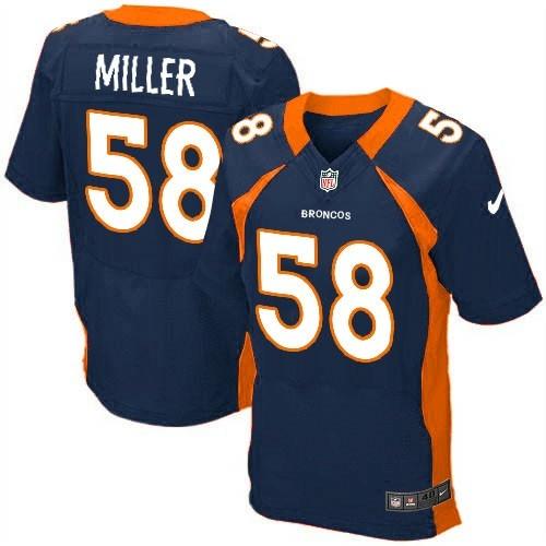 cheap custom Denver Broncos Navy Blue Nike NFL football Elite jersey in  Navy Blue for men