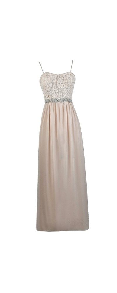 Lily Boutique Creme Rose Embellished Blush Cream Maxi Dress, $74  This is a perfect dress for a school dance, prom, or any other special events. WWW. LillyBoutique.com for more details.