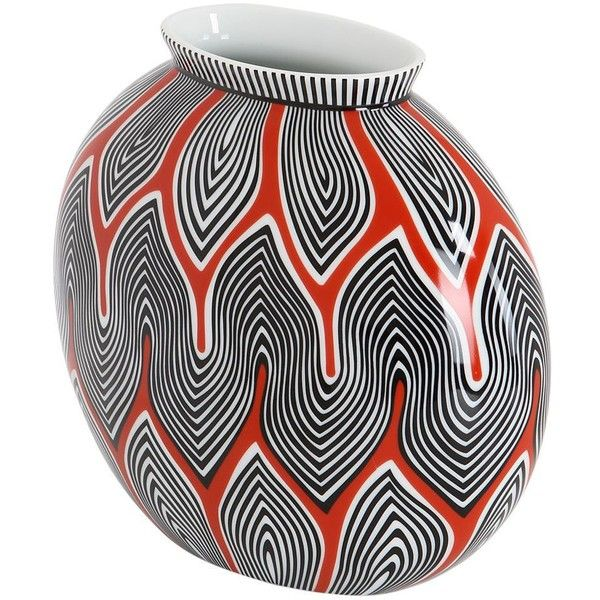 Missoni By Richard Ginori 1735 Home Halfmoon Porcelain Vase (480 CAD) ❤ liked on Polyvore featuring home, home decor, vases, multi, richard ginori, handmade home decor, handmade vase, colored vases and porcelain vase