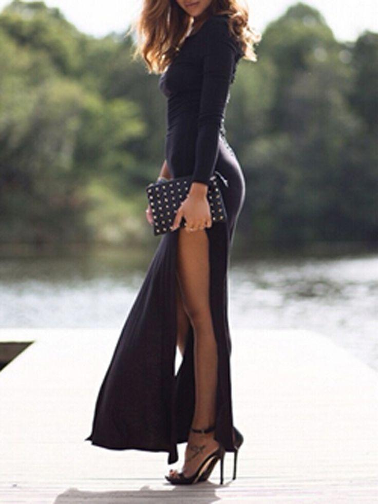 Black Crochet Lace Back Side Slit Long Sleeve Bodycon