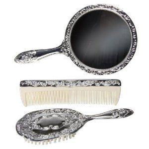 "3 pc Silver Chrome Girls Vanity Set Comb Brush Mirror. by Kingsley. $36.14. With comb. Mirror and brush. Vanity Set Dresser set, silver plated.. 3 Piece Vanity Set Perfect for the budding diva, this 3 piece vanity set features a brush, comb and mirror in a shiny, chrome/silver finish.  A wonderful gift that is sure to become a cherished keepsake.    Each piece measures between 7-9"" long  Mirror is 5"" in diameter  Nicely weighted-made of metal with a shiny silver/c..."