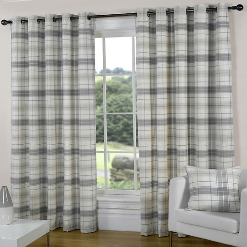 SILVER GREY SLATE PEWTER CREAM Check tartan EYELET Ring Curtains 46 66 90 108 d | eBay