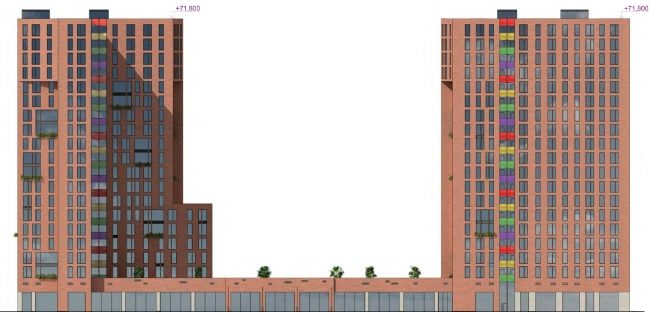 Многофункциональный жилой комплекс на улице Вавилова. Фасад. Архитектурная…