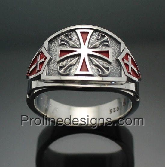 Knights Templar Masonic Men's ring - Cigar band style 028 in Sterling Silver #masonicring