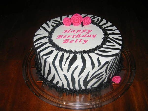 Cake Decorating Zebra Print : Zebra Cake w/ Ribbon Roses - 10
