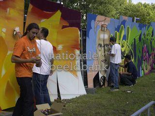 Graffitikunstenaars in actie