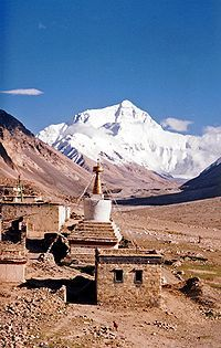 Rongbuk Monastery, Tibet, China.  Highest monetary in the world!  Mt. Everest seen behind it!