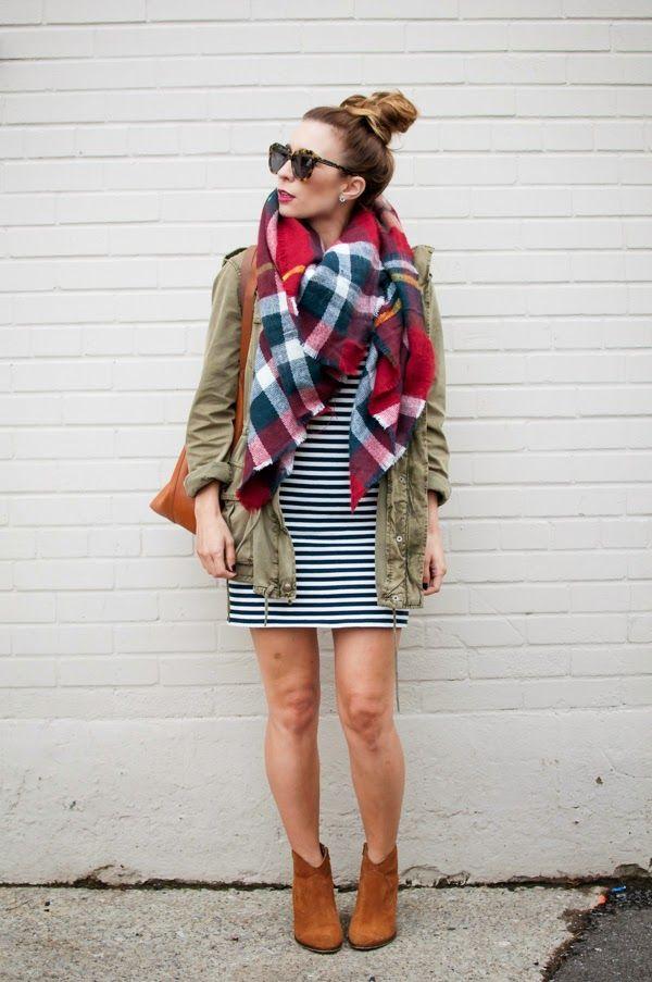 Fall outfit: black-white striped dress, khaki jacket, Zara plaid scarf, cognac booties, cognac bag