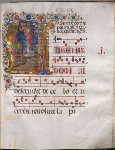 Antiphonary: Initial A, Resurrection, c. 1470-1480 follower of Girolamo da Cremona (Italian)  ink, tempera, and gold on parchment, Codex - h:55.90 w:43.20 d:10.20 cm (h:22 w:17 d:4 inches). Gift of the Right Reverend William A. Leonard 1930.661.97.a Location: not on view Cleveland Museum of Art