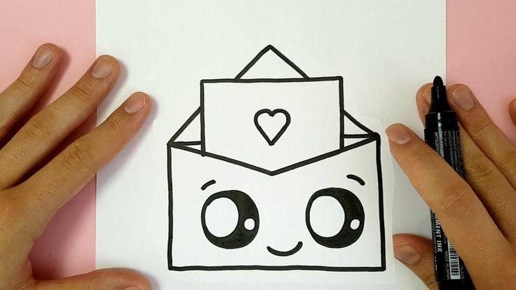 kawaii draw valentine dessin drawings enveloppe malen dessiner easy facile tekenen happy desenhar zeichnen drawing freunde dibujos comment lernen dibujar