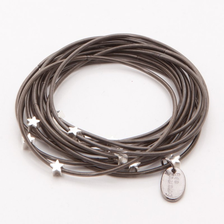 Piano Wire Infinity Star Bracelet - Hematite/Silver at the Foundary