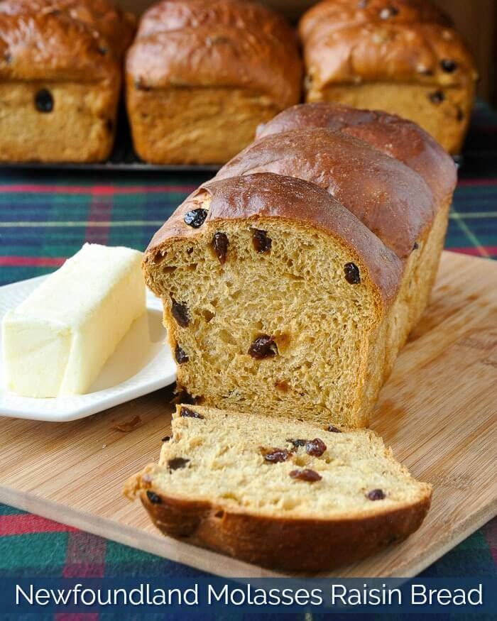 Newfoundland Molasses Raisin Bread. A classic Newfoundland recipe that everyone\'s Mom or Nan made back in the day. It\'s often enjoyed at the Holidays and is a favourite for morning toast with gobs of melting butter.
