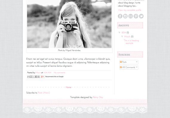 Lovely detail at the footer, made of washi tape and lace. Responsive Blogger Premade Template. Lace & Fabric by RainyDayBlogDesign.
