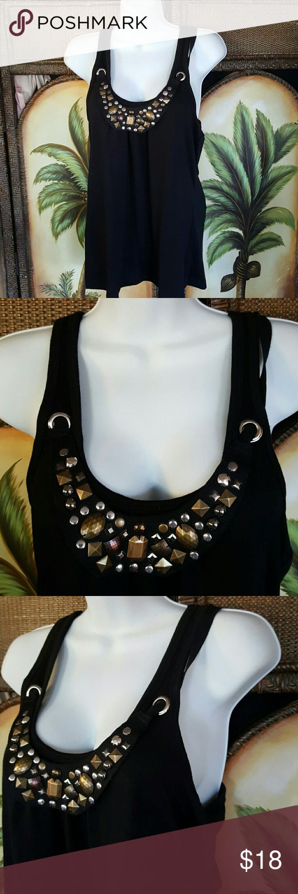 Eyelash razorback nwt bling Has a separate embellished type necklace that goes through silver rings and ties in the back extremely cute new with tag eyelash Tops Tank Tops