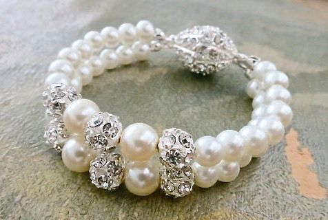 Bridal Pearl Bracelet Wedding Pearl by SukranKirtisJewelry on Etsy