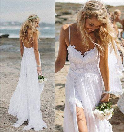 Stunning Boho Summer Beach Wedding Dresses A Line Spaghetti Straps Lace Bodice Chiffon Skirt Backless Open Back