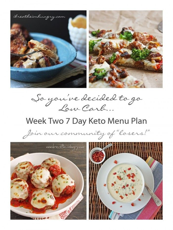 Week Two 7 Day Meal Plan and shopping list for Keto and Atkins Dieters - from ibreatheimhungry.com