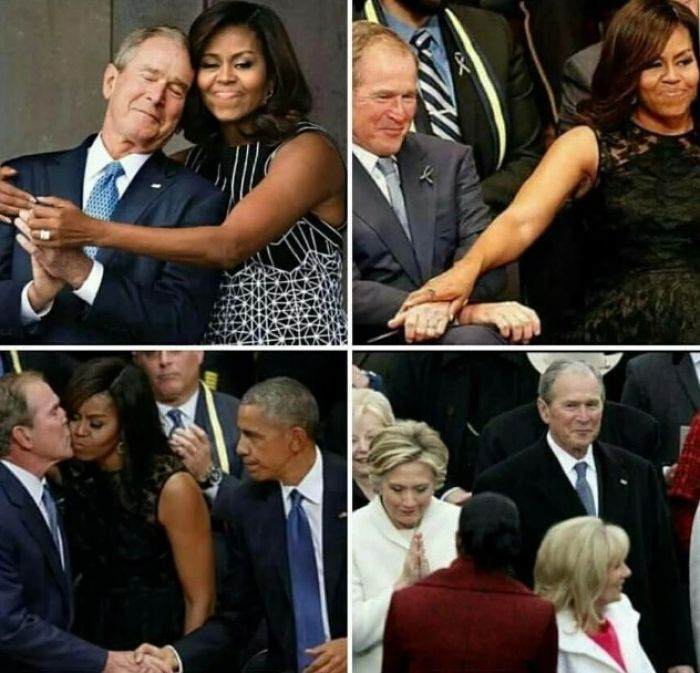 I think King George has a little crush on Mrs. Obama...