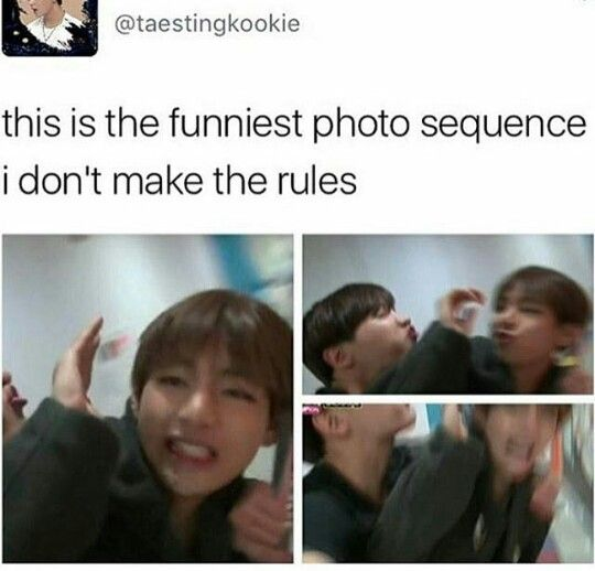 RUN AWAY TAETAE!   But if I was him at this time, i'd let Hobi kiss me. >w<