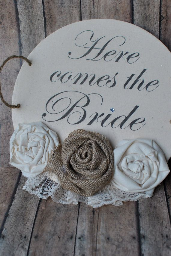 Here comes the bride sign/banner by PaperPrincessStudios on Etsy, $36.00