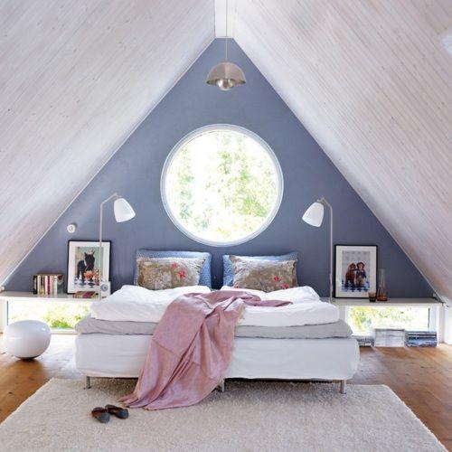 attic bedroomWall Colors, Ideas, Attic Bedrooms, Attic Spaces, Blue Wall, Scandinavian Bedrooms, Attic Room, Round Windows, Accent Wall