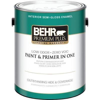 Behr Premium Plus 1 Gal Ultra Pure White Semi Gloss Zero Voc Interior Paint Ceiling Trim