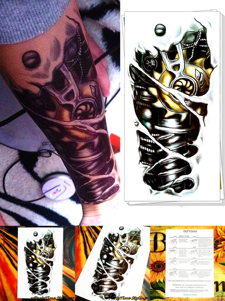 [Visit to Buy] M-theory Robot Arm Body Makeup Temporary 3d Tattoos Sticker Henna Flash Tatoos Tatuagem Body Arts Tatouage Tatto Stickers #Advertisement