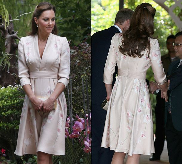 Kate perfects diplomatic dressing on Singapore tour. Kimono style, the pink outfit featured a lovely De Gournay orchid pattern, the flower most closely associated with the country.