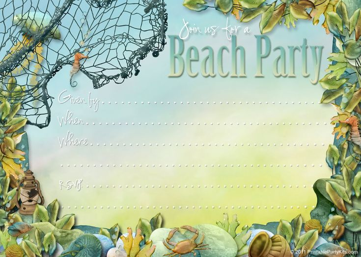22 best Beach Invitations images – Free Printable Beach Party Invitations