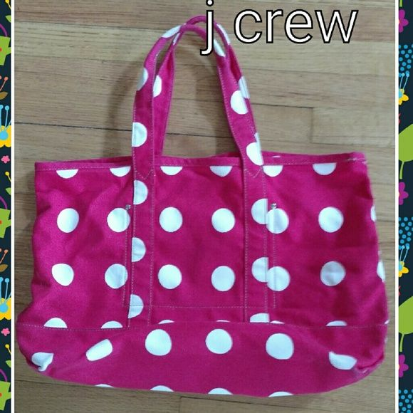 Large j crew tote Large tote by j crew. Pink w creamdots. Super cute. Leather logo tag inside. Two large inside pockets. Great condition j crew Bags Totes