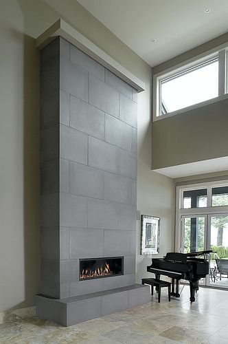 Solus tiled linear fireplace 24 x 36  feature wall in Shiitake by Solus Decor