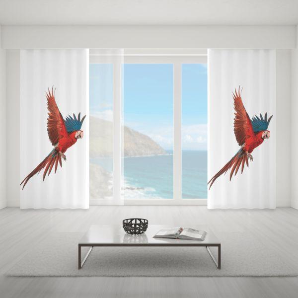 Zasłona z kolorowym ptakiem