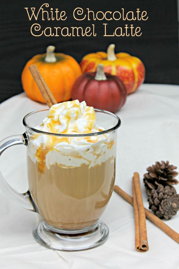 Fall is one of my favorite times of the year because it means cool weather and hot coffee drinks! One of my favorites is a White Chocolate Caramel Latte . Coffee drinks, coffee lover, coffee recipes