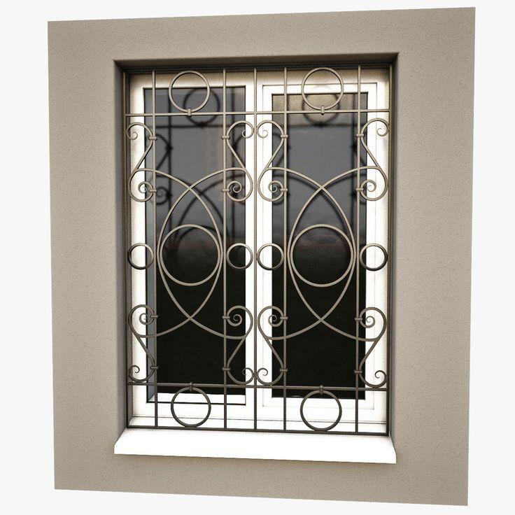 3d model windows security bars iron window grill window