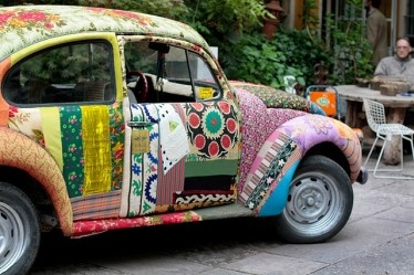 Patchwork covered VW Bug - just for fun!