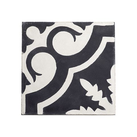 Tine K Home Moroccan Cement Floor Wall Tiles Leaf: These Moroccan cement tiles have received lots of admirers in-store.  The black + white is available in 6 different patterns and the grey + white in 3 patterns.  Play around with the patterns to create your own unique mix. This drawing can then be provided to your installer to follow. Individual tile size is 20 x 20 cm, 2cm deep. Each design is sold in a box of 13.  These tiles ship in 7-10 days.