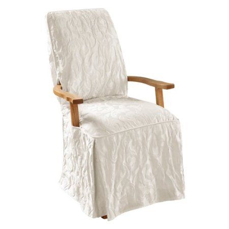 sure fit matelasse damask arm long dining chair slipcover white