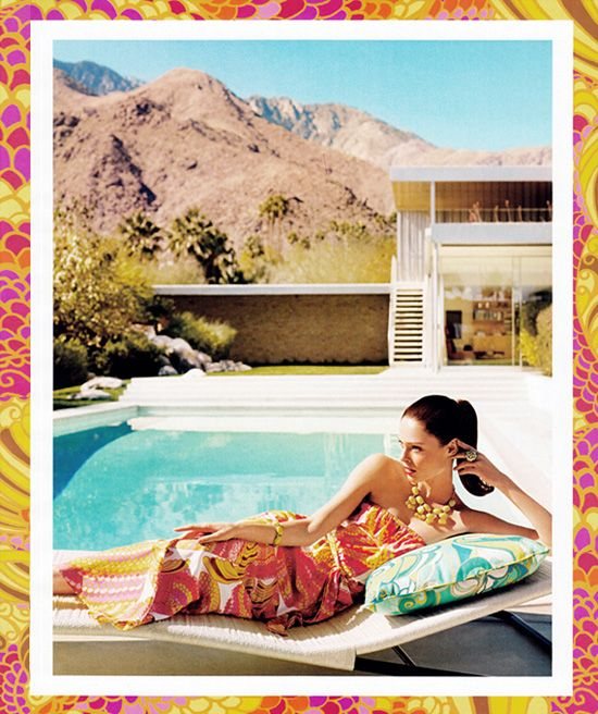 Trina Turk for Banana Republic, Coco Rocha, Neutra Kaufmann House Palm Springs