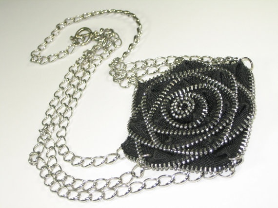 Zipper Necklace  Flower Necklace by ElmasBox on Etsy