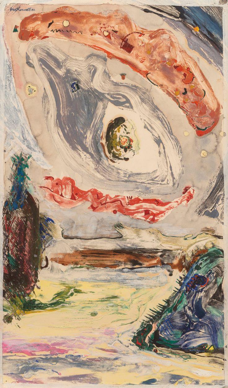 Robert Motherwell (1915-1991). Untitled (Imaginary Landscape) (EW.XVI), 1941. Mixed media with monoprint on paper. click to enlarge
