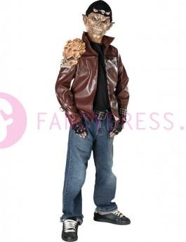 Dit demon ruiter kostuum bestaat uit:    Een jas met vinyl schouderstuk.    Een vinyl masker met pet,    Een paar handschoenen.