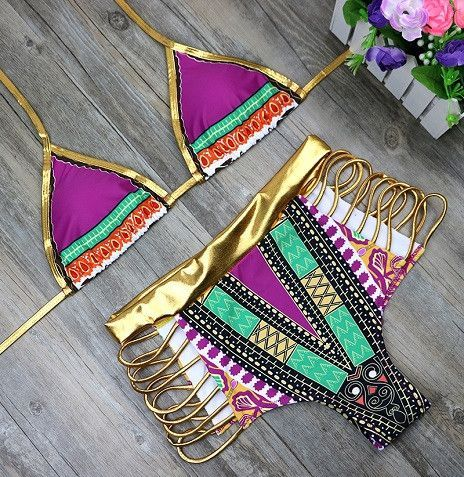 2017 Hot Sexy Gold High Waist Bikini two pieces Hollow Out Bandage Swimsuit Cut Out Sexy Strappy Swimwear Bathing Suit