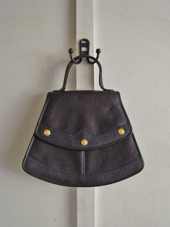vintage black leather Philippe Charriol wedge by ErinSheaVintage, $88.00