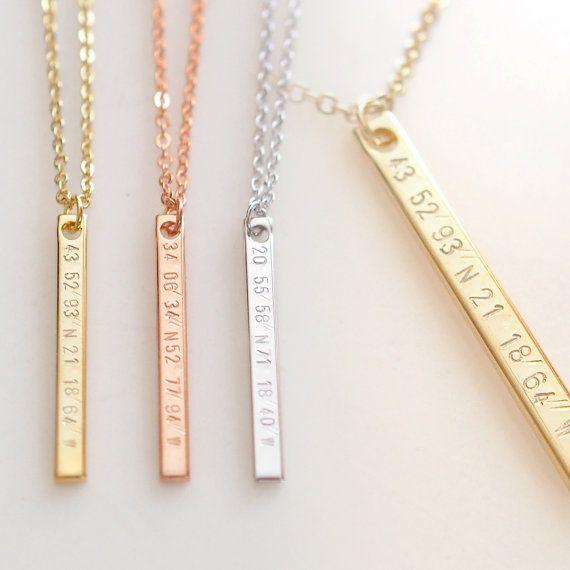 Vertical Coordinate Necklace