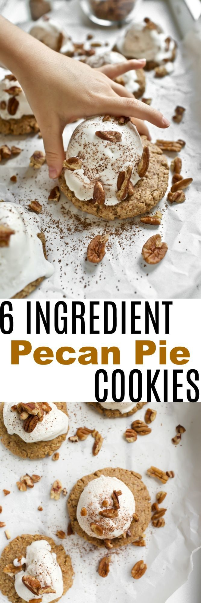 Vegan Pecan Pie Cookies that are just 6 ingredients, dairy-free, gluten-free, oil-free and yet, delicious and buttery. Made with just oats, pecans, coconut sugar and maple syrup for the most natural sweetness that will remind you of a homemade pecan pie, but with much simpler steps. via @thevegan8