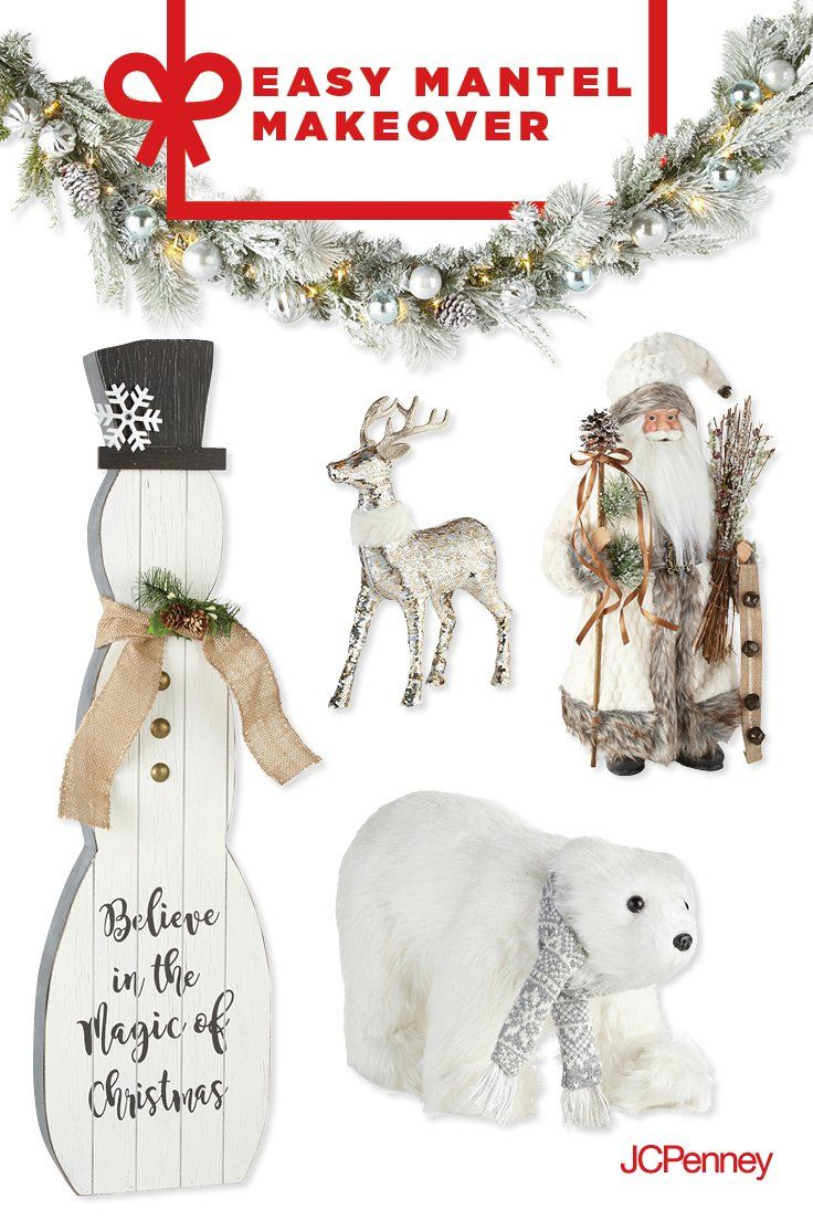 Transform your mantel into a winter wonderland with just a few key