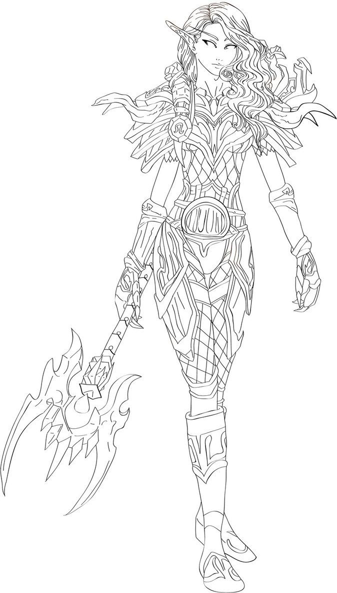 Coloring pages blood - Wow Elves Coloring Pages Blood Elf Hunter By Dinaconcept